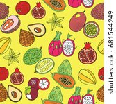 seamless hand drawn pattern... | Shutterstock .eps vector #681544249