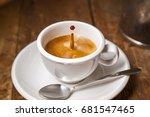 coffee drop in espresso cup on...   Shutterstock . vector #681547465