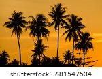 coconut trees looking like... | Shutterstock . vector #681547534