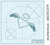vector blueprint heart with... | Shutterstock .eps vector #681552379