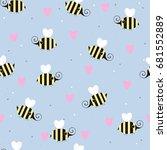 cute little flying bees... | Shutterstock .eps vector #681552889