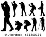 silhouette man photographer ... | Shutterstock .eps vector #681560191