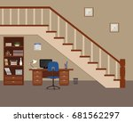 workplace located under the...   Shutterstock .eps vector #681562297