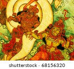 beautiful ancient Hindu god Painted on wall - stock photo