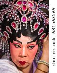 Small photo of Group of Chinese Opera member prepares at backstage for performance in Tanjung Sepat, Malaysia on Wednesday, Jul. 19, 2017. The Opera Group from Thailand Shengngoy Troupe perform in Teochew dialect.
