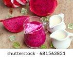 dragon fruit milk smoothies | Shutterstock . vector #681563821