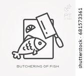 line icon butchering of fish | Shutterstock .eps vector #681573361