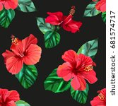 Red Hibiscus Tropical Flowers...