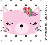 Stock vector cute cat vector artwork 681575779