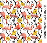 seamless vector pink flamingo... | Shutterstock .eps vector #681587041