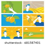 collection of agriculture and... | Shutterstock .eps vector #681587401
