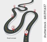 winding 3d road infographic... | Shutterstock .eps vector #681591637