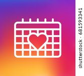 isolated calendar with heart... | Shutterstock .eps vector #681593341