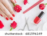 cares about hands nails.... | Shutterstock . vector #681596149