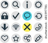 vector illustration of 16 user... | Shutterstock .eps vector #681597781