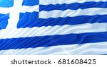 gr ce flag of silk. gr ce flag... | Shutterstock . vector #681608425