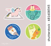 funny stickers about designers  ... | Shutterstock .eps vector #681608545