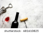 bottle of red wine and... | Shutterstock . vector #681610825