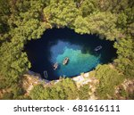 on top of melissani cave  ... | Shutterstock . vector #681616111