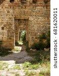 mystical interior  ruins of... | Shutterstock . vector #681620011