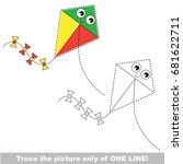 funny toy kite to be traced... | Shutterstock .eps vector #681622711