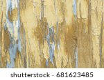 old wooden board with traces of ... | Shutterstock . vector #681623485