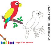 funny parrot to be colored  the ... | Shutterstock .eps vector #681624964