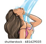 a young sexy passionate woman... | Shutterstock .eps vector #681629035