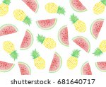 pineapples and watermelons... | Shutterstock . vector #681640717