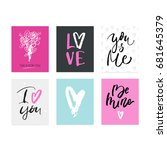 set of hand drawn lettering... | Shutterstock .eps vector #681645379