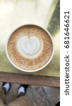Small photo of heart shape cappuccino
