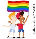 smiling gay cartoon couple... | Shutterstock .eps vector #681651391