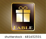 gold emblem or badge with gift ... | Shutterstock .eps vector #681652531