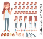 front  side  back view animated ... | Shutterstock .eps vector #681658261