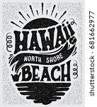 vector illustration hawaii ... | Shutterstock .eps vector #681662977