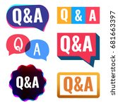 q a. badge  icon  logo set.... | Shutterstock .eps vector #681663397
