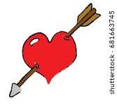 heart hit by an arrow   cartoon ... | Shutterstock .eps vector #681663745