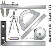vector measuring tools isolated ... | Shutterstock .eps vector #681664831
