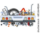 vector rear car part with spares | Shutterstock .eps vector #681664864