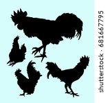 rooster and chicken animal... | Shutterstock .eps vector #681667795