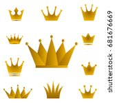 golden crowns   set of vector... | Shutterstock .eps vector #681676669