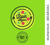 love vegan logo. cafe or... | Shutterstock .eps vector #681681661