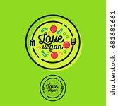 love vegan logo. cafe or... | Shutterstock .eps vector #681681661