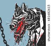 werewolf in a suit vector...   Shutterstock .eps vector #681682615