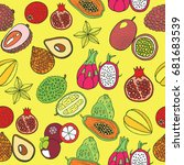 seamless hand drawn pattern... | Shutterstock . vector #681683539