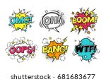 comic speech bubbles set with... | Shutterstock .eps vector #681683677