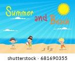 summer and beach | Shutterstock .eps vector #681690355