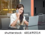 young business woman with... | Shutterstock . vector #681690514
