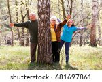 elderly couple and young... | Shutterstock . vector #681697861