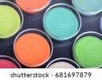 paint pots in assorted colors.... | Shutterstock . vector #681697879
